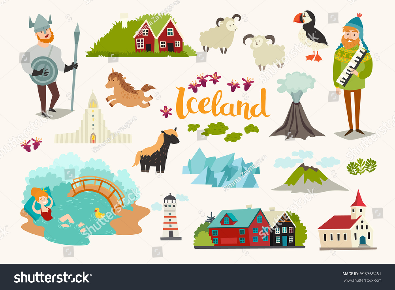 Iceland Landmarks Vector Icons Set Illustrated Stock Vector (Royalty ...