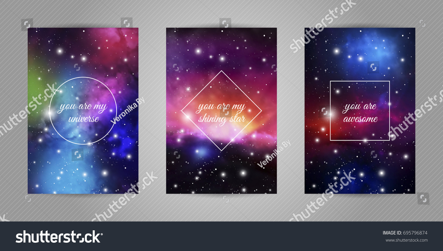 Set Romantic Postcards Beloved Space Stars Stock Vector Royalty