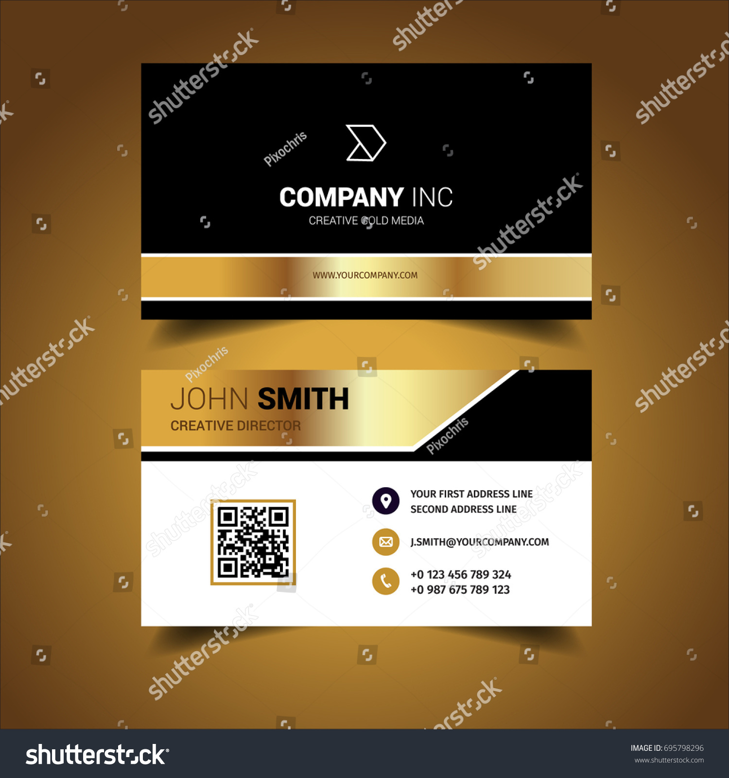 Bright Gold Business Card Stock Vector 695798296 - Shutterstock