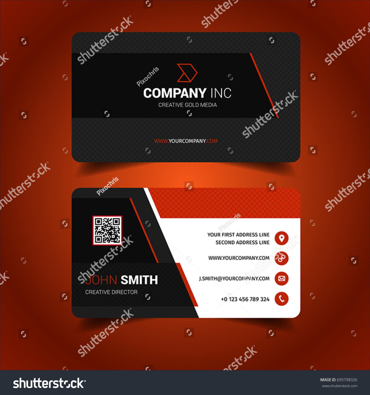 Black Red Business Card Stock Vector 695798326 - Shutterstock