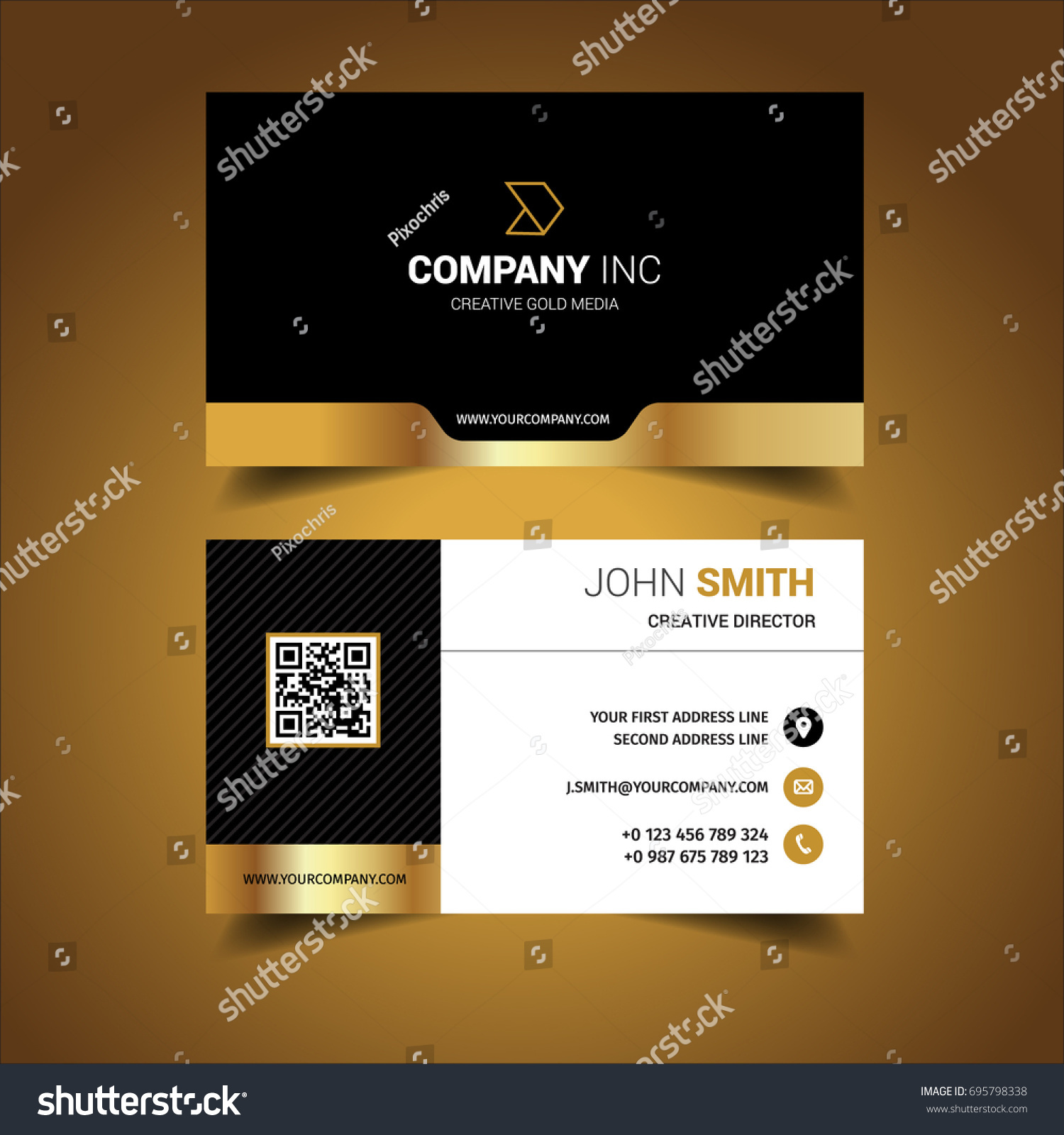 golden creative business card stock vector shutterstock