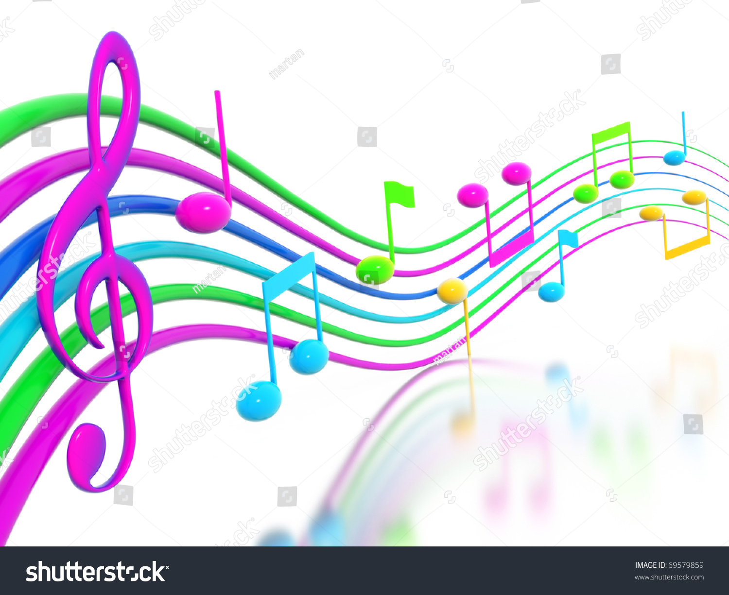 Rainbow Music Stock Images: 3d Render Stock Photo 69579859 : Shutterstock