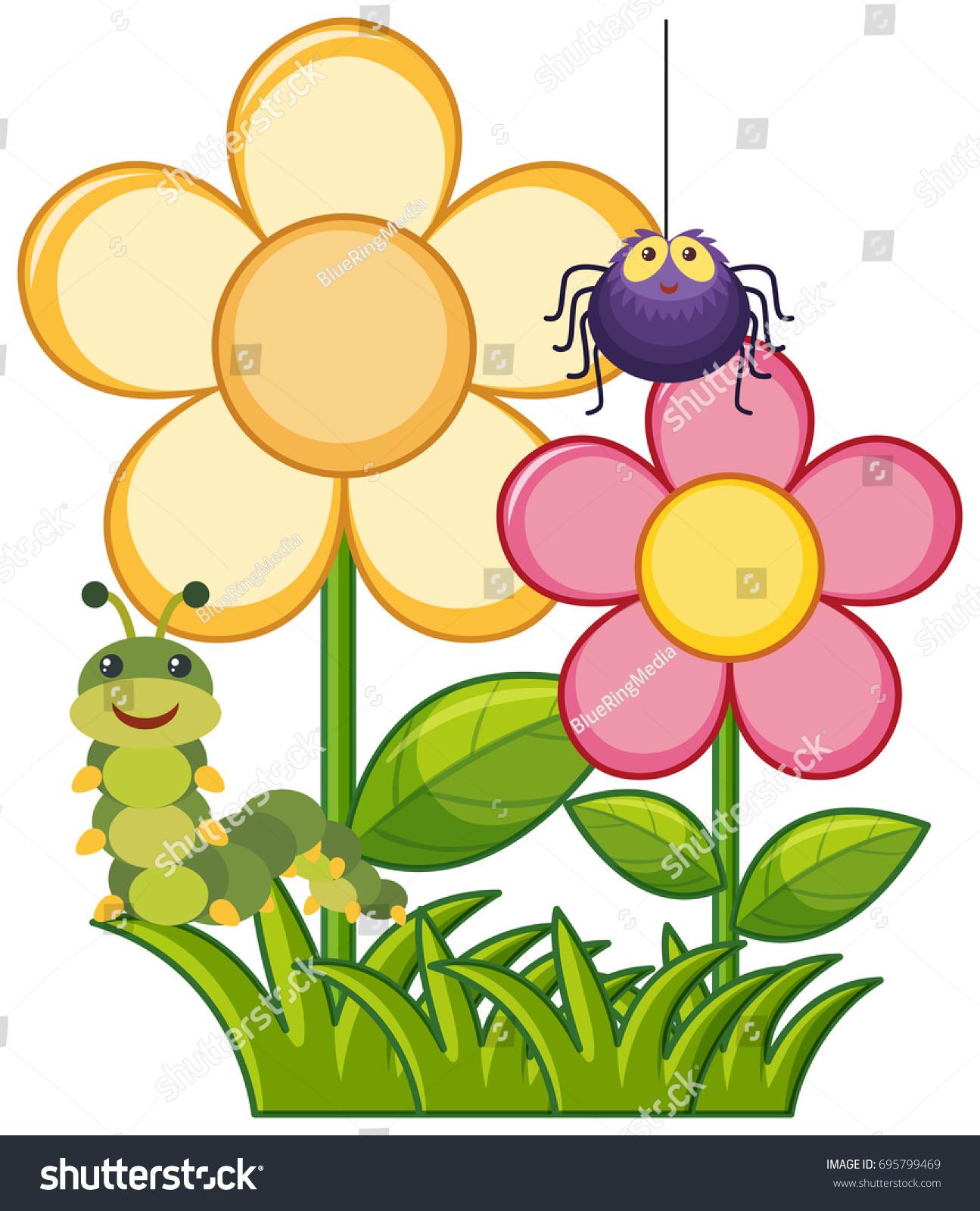 Flower garden cartoon - Spider And Caterpillar In Flower Garden Illustration