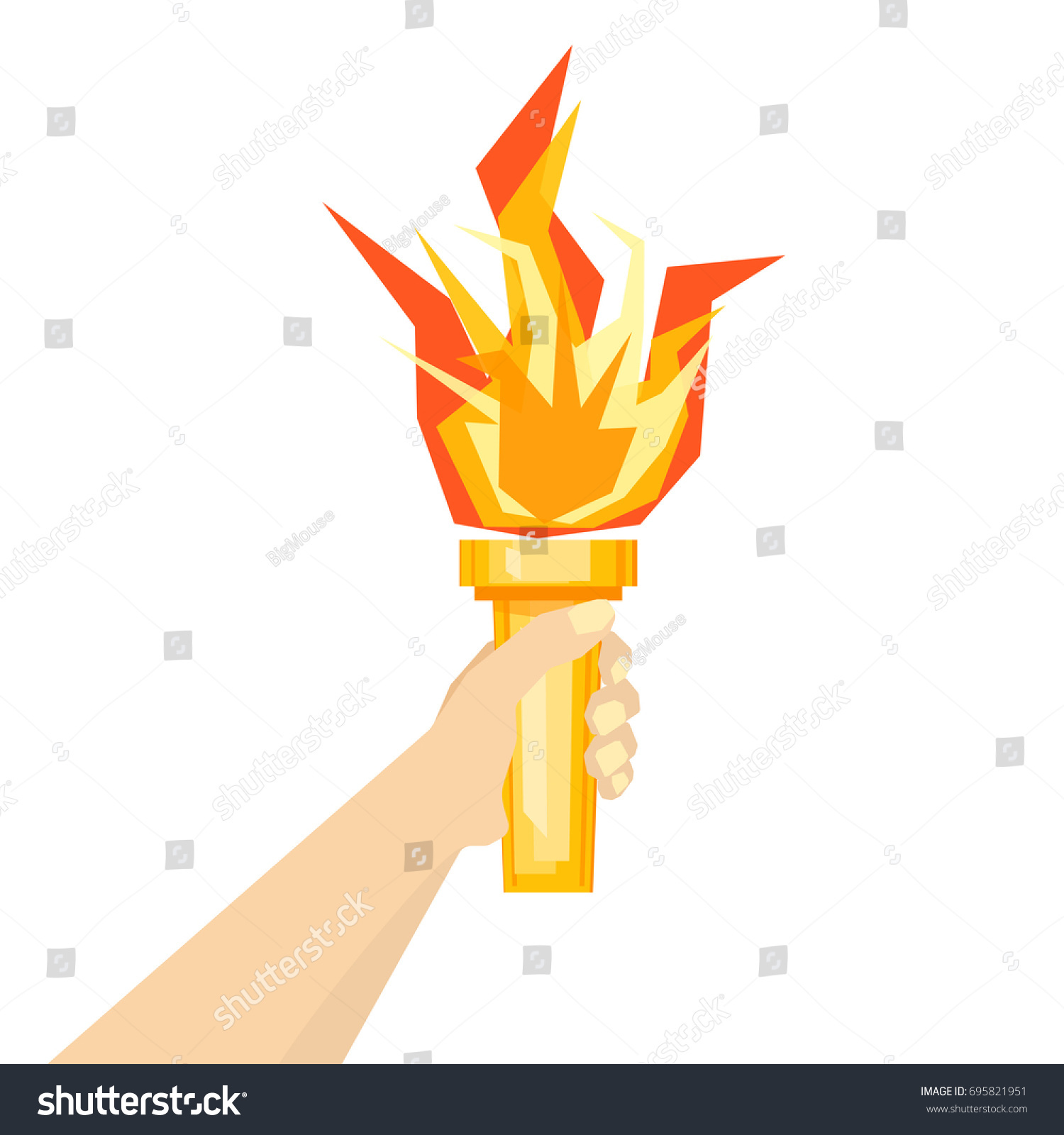 Human Hand Fire Torch On Ligh Stock Illustration 695821951 ... for fire torch in hand  54lyp