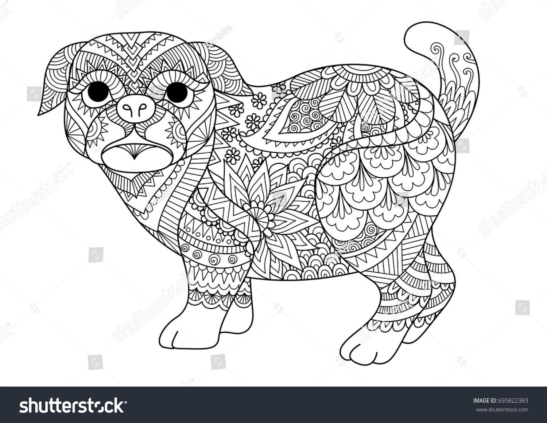 Line Art T Shirt Design : Line art design cute pug dog stock vector