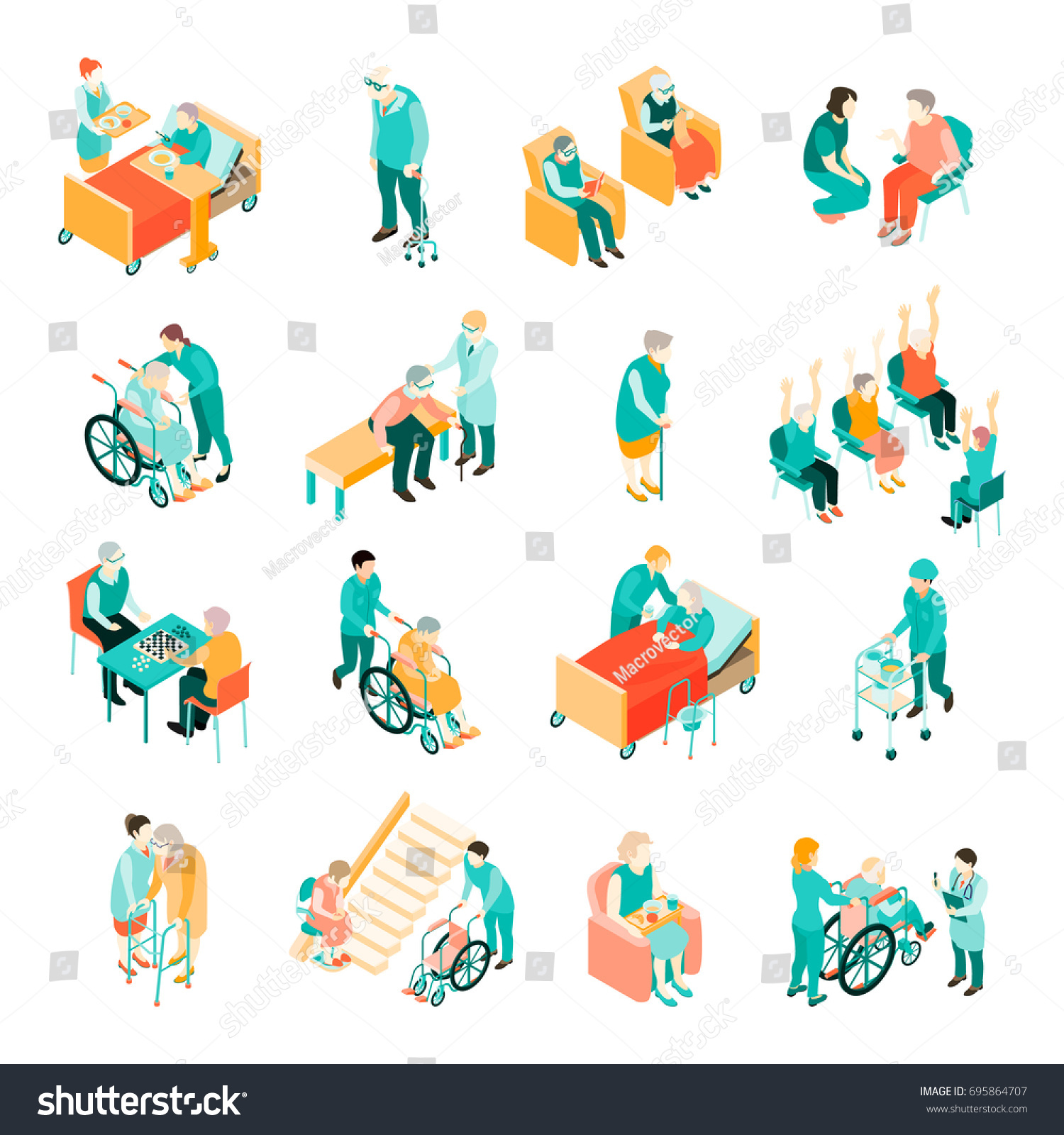 Isometric Exercises For Seniors: Isometric Set Elderly People Different Situations Stock