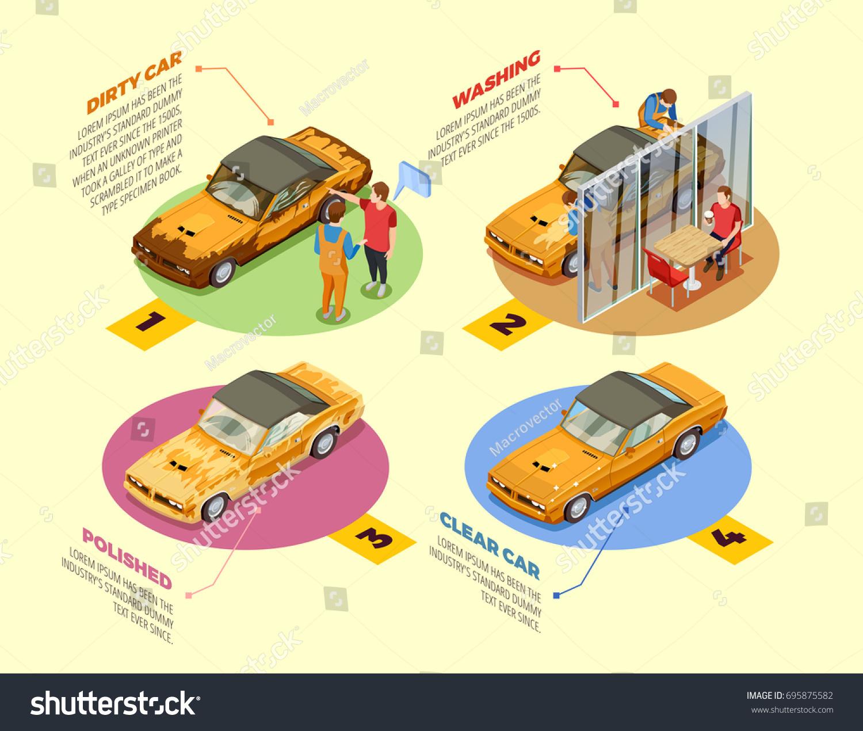 Car Wash Service 4 Isometric Infographic Stock-Vektorgrafik ...