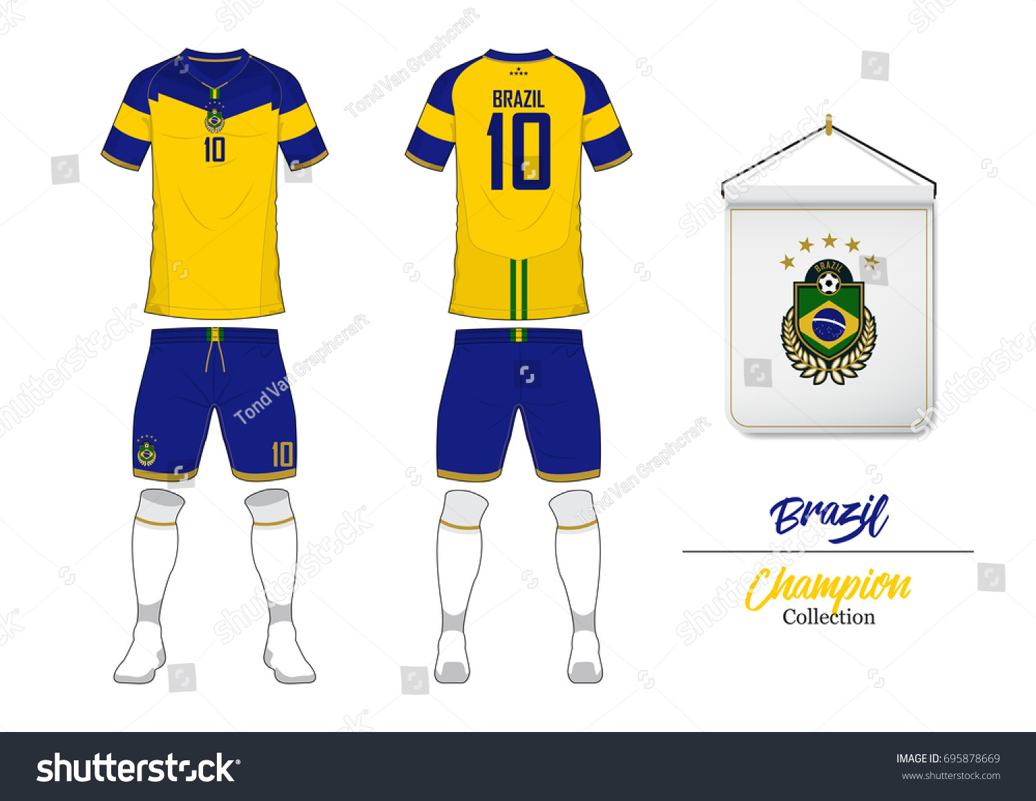 Soccer jersey or football kit collection in World Cup Championship Concept.  Brazil football national team effa6908d