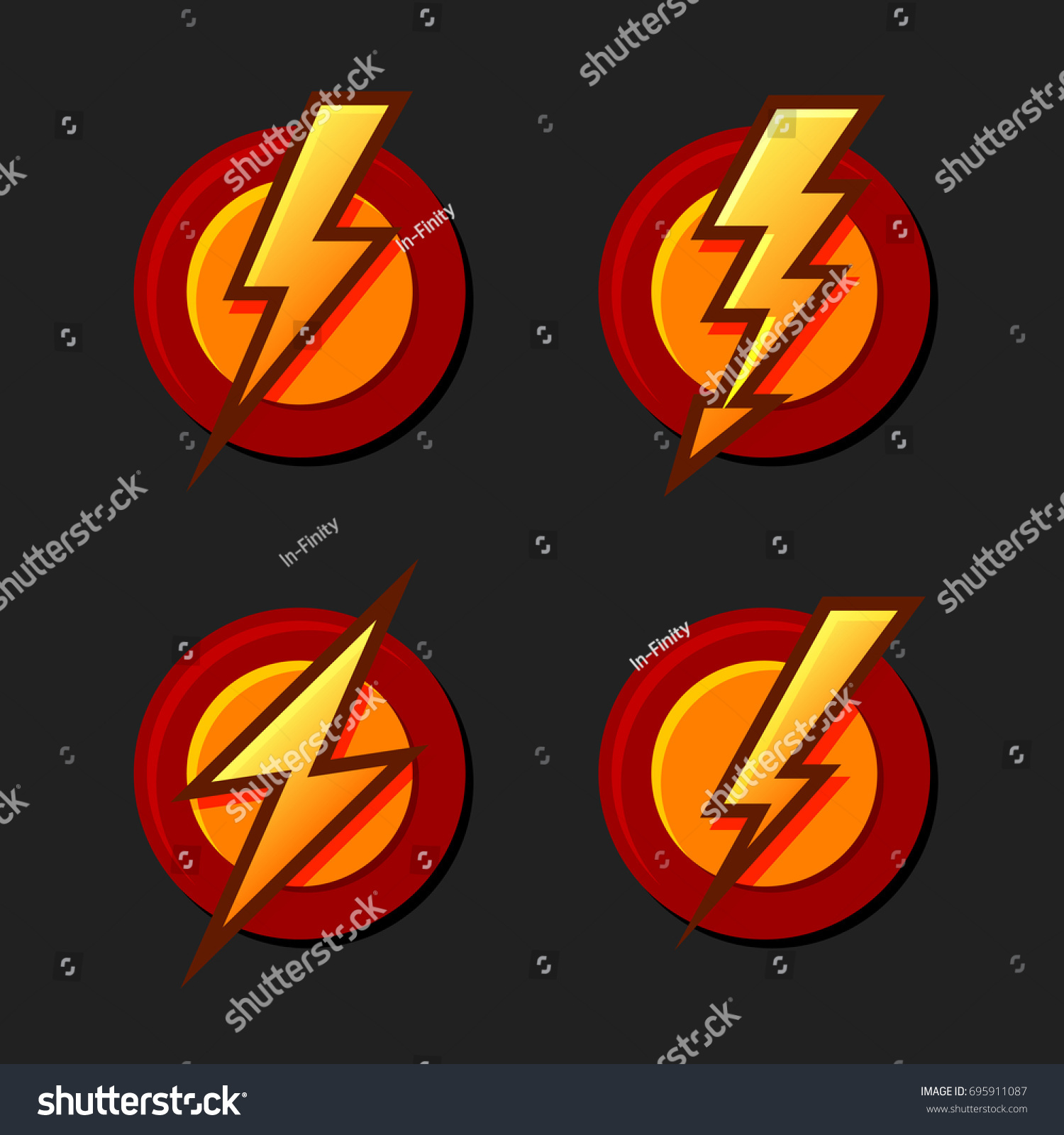 Superhero sign lighting bolt icons set stock vector 695911087 superhero sign with lighting bolt icons set vector buycottarizona Image collections