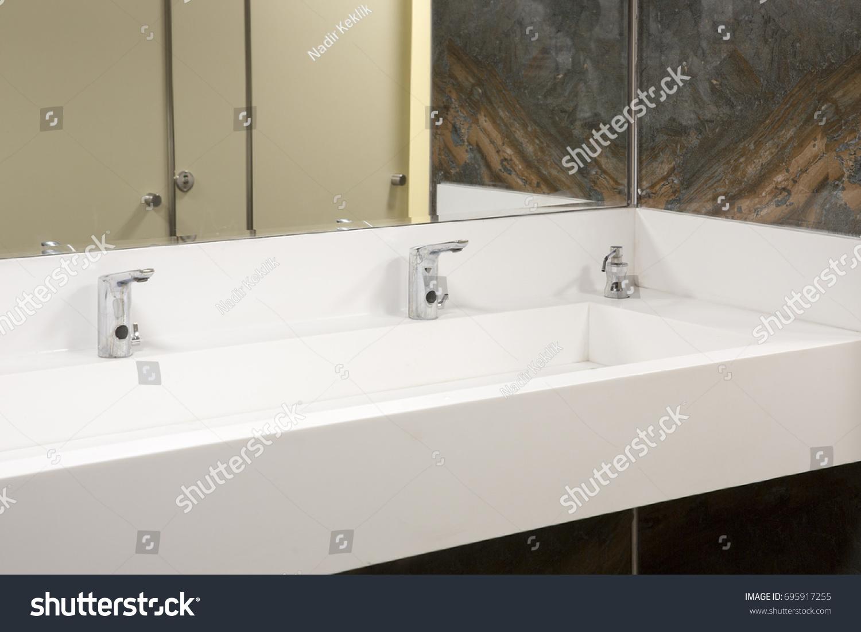 White Corian Sink Chrome Tap Wooden Stock Photo (Royalty Free ...
