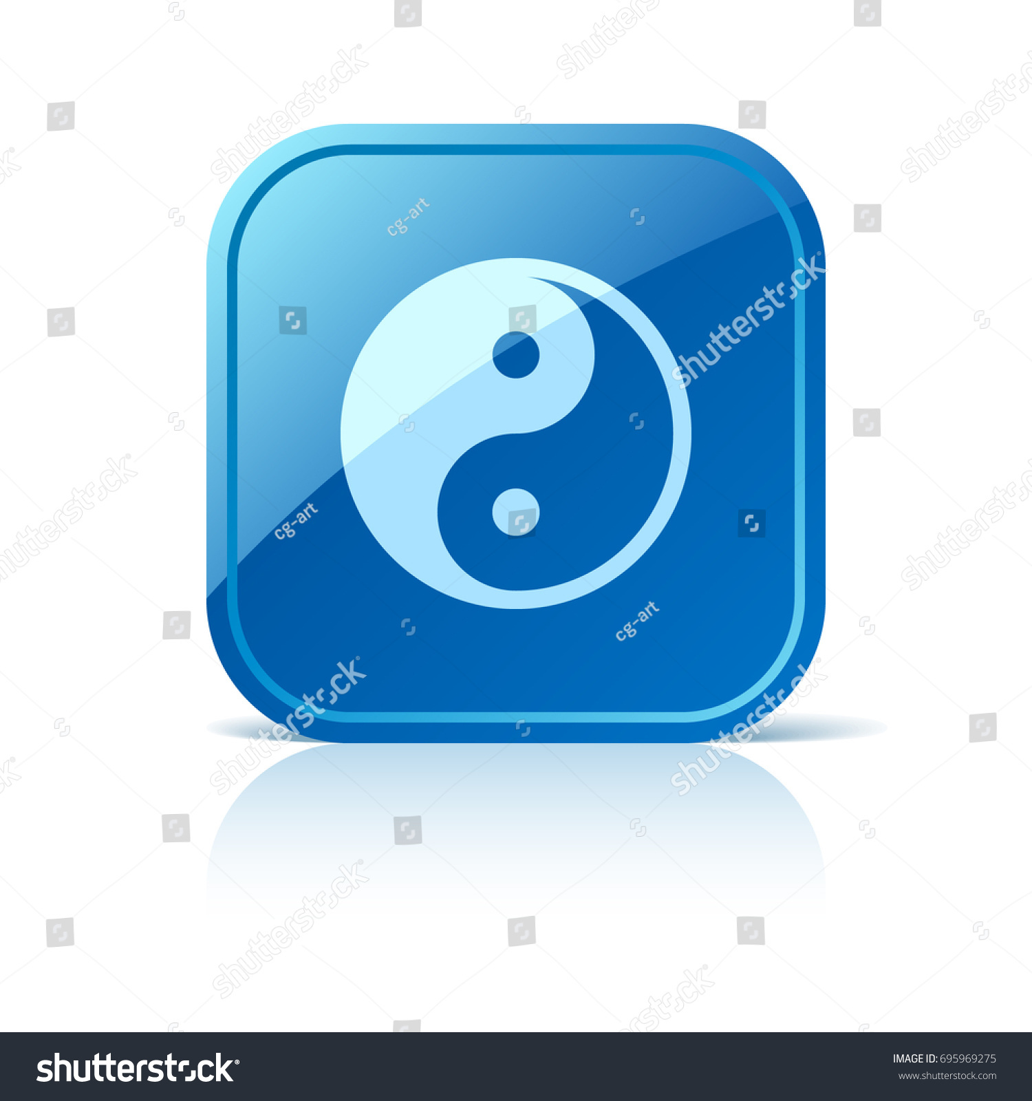 Yin Yang Symbol On Blue Web Stock Vector 695969275 Shutterstock
