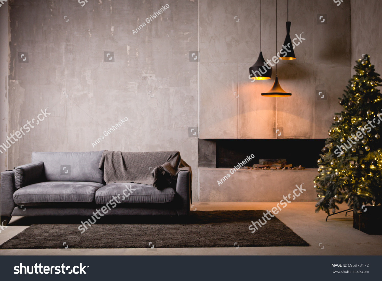 gray velor sofa dark loft room stock photo 695973172 shutterstock