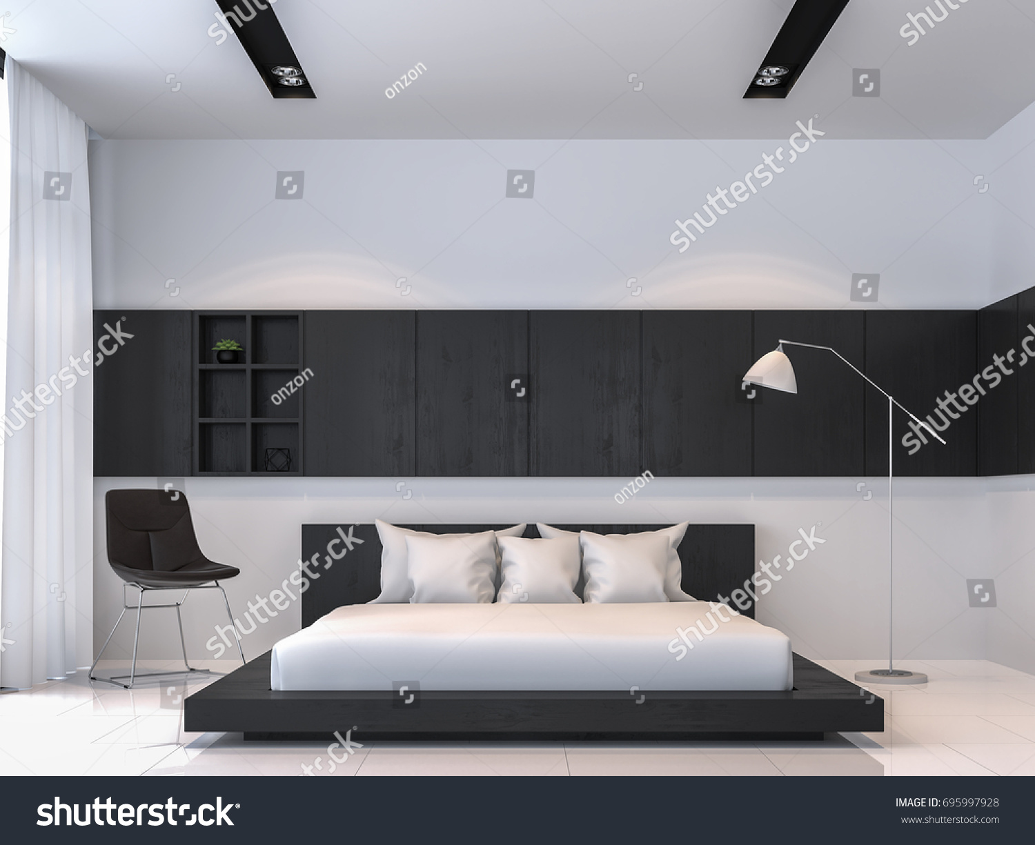 Modern Black White Bedroom Interior Minimal Stock Illustration 695997928
