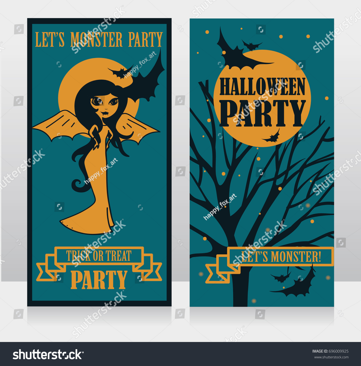 Template Halloween Party Invitations Doodle Lady Stock Vector ...