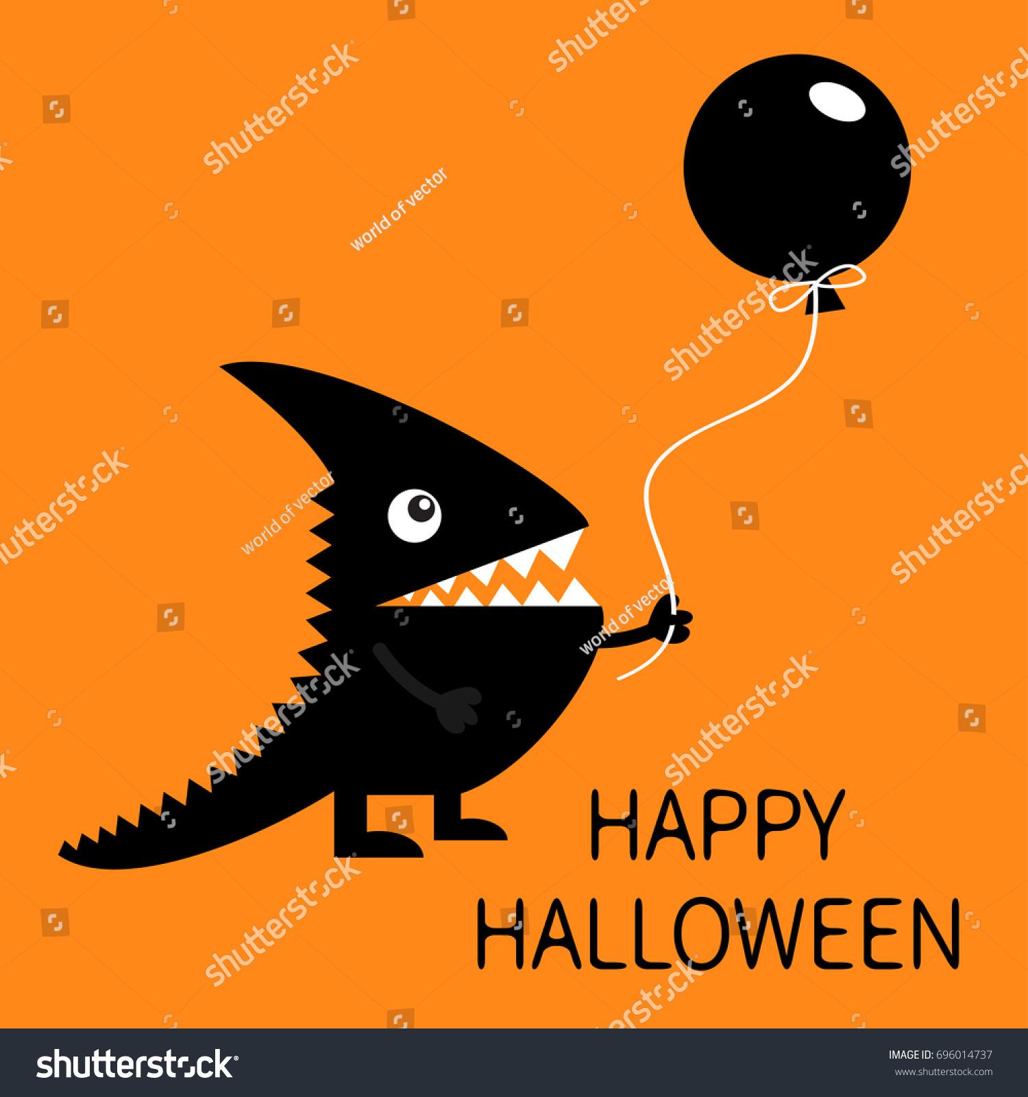 Happy Halloween Black Silhouette Monster Sharp Stock Vector