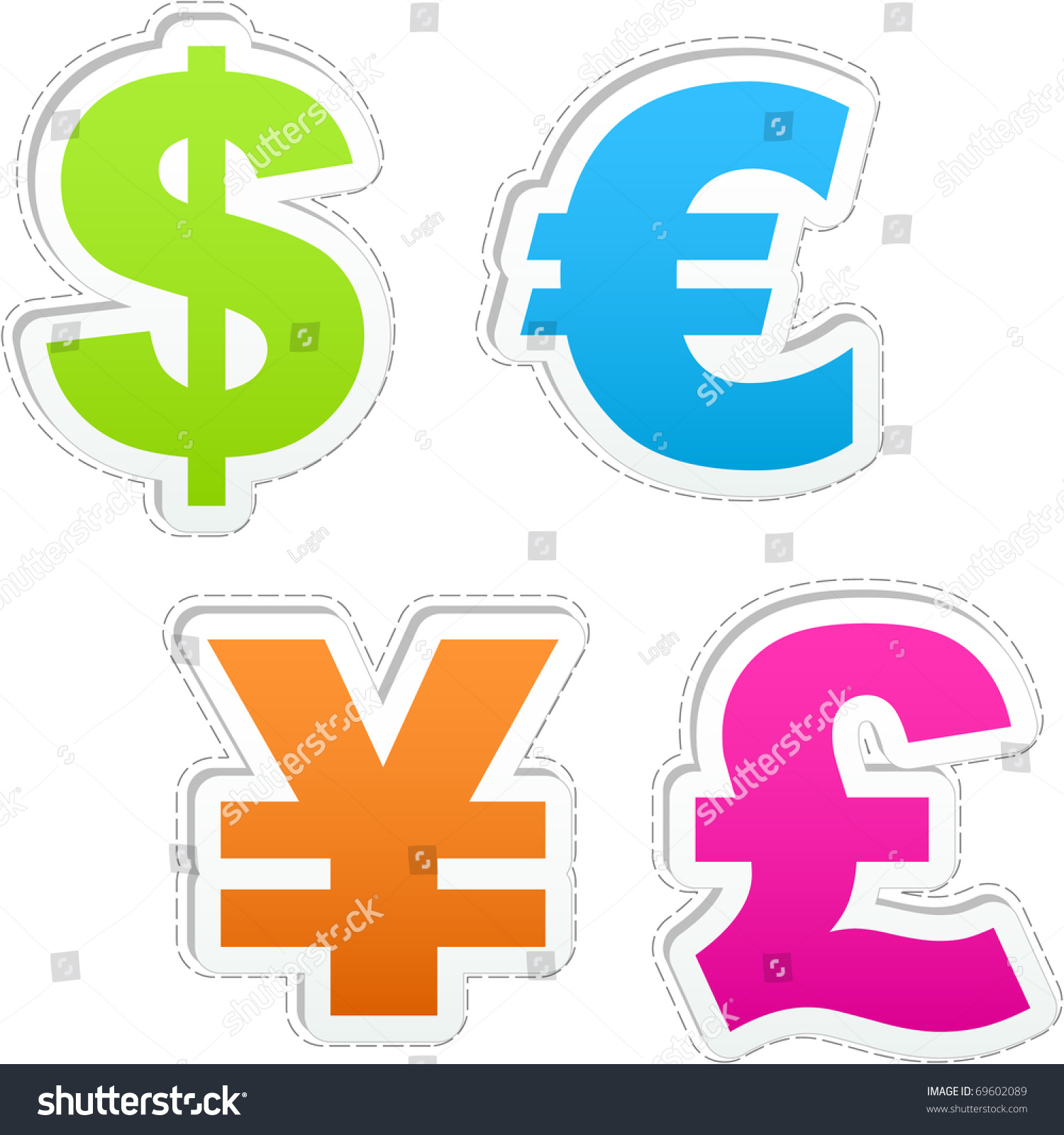Currency Signs Dollar Euro Yen Pound Stock Vector 69602089