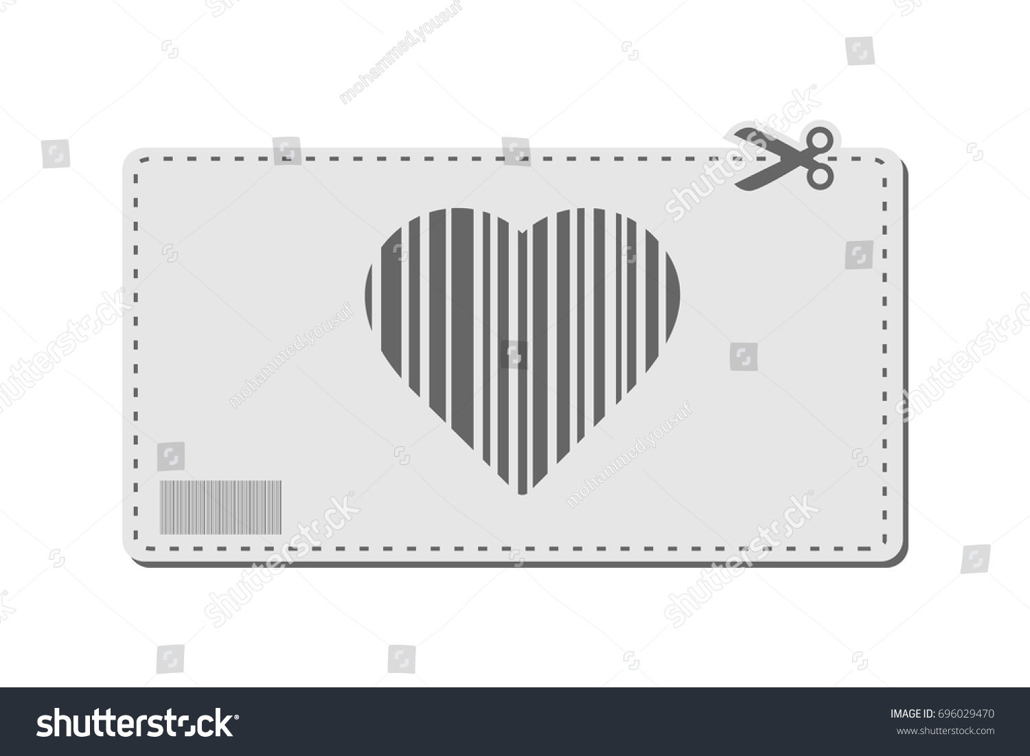 Heart coupon vector bar codes voucher stock vector 696029470 heart coupon vector with bar codes or voucher code or promo code and scissors to cut biocorpaavc