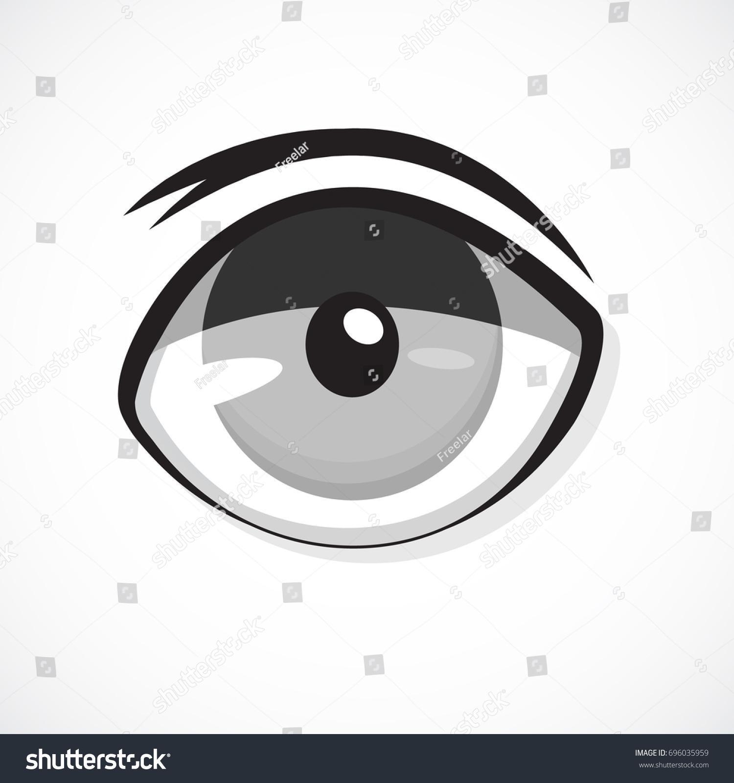 eye anime icon on white background cartoon monster evil ghost stock