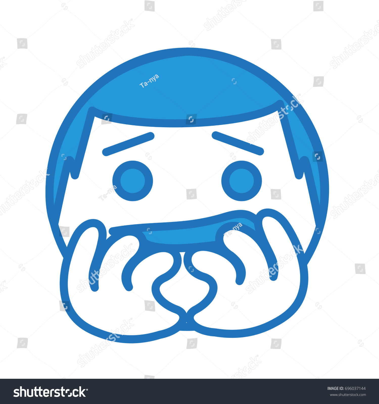 Nervous Emoji Bites His Nails Funny Stock Vector (Royalty Free ...