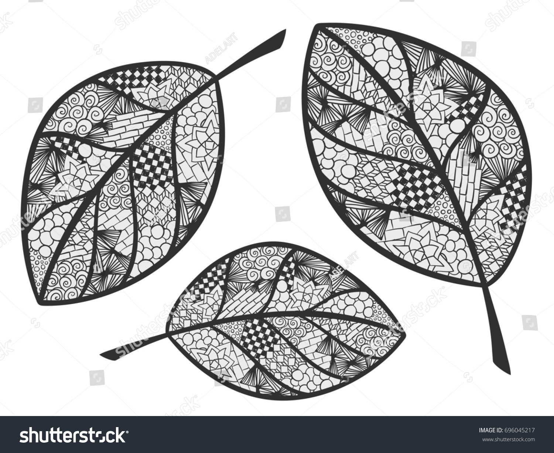 Leaf Doodle Illustration Autumn Theme Ornament Stock Illustration ...