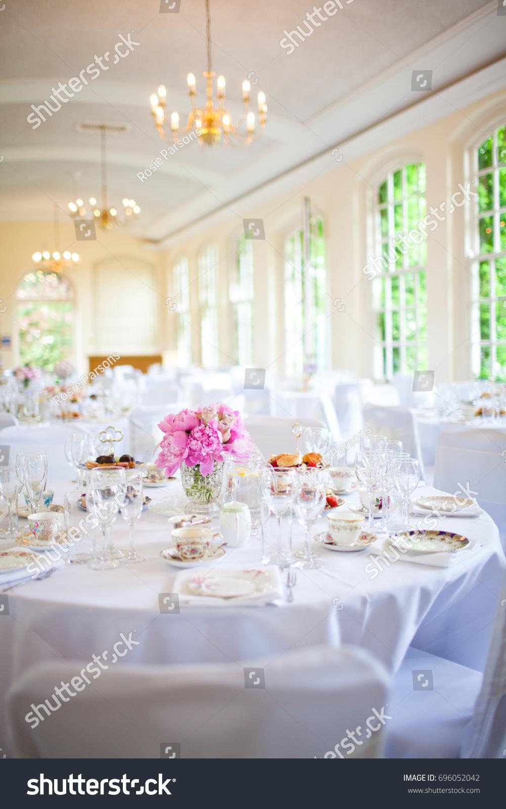 Afternoon Tea Wedding Reception Set Stock Photo Edit Now 696052042