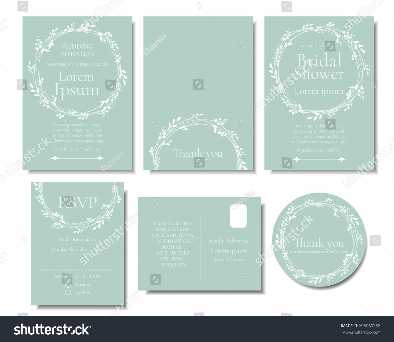 Set white leave wreath on green imagem vetorial de banco 696069358 set of white leave wreath on green mint color wedding invitation cardctor illustration stopboris Images