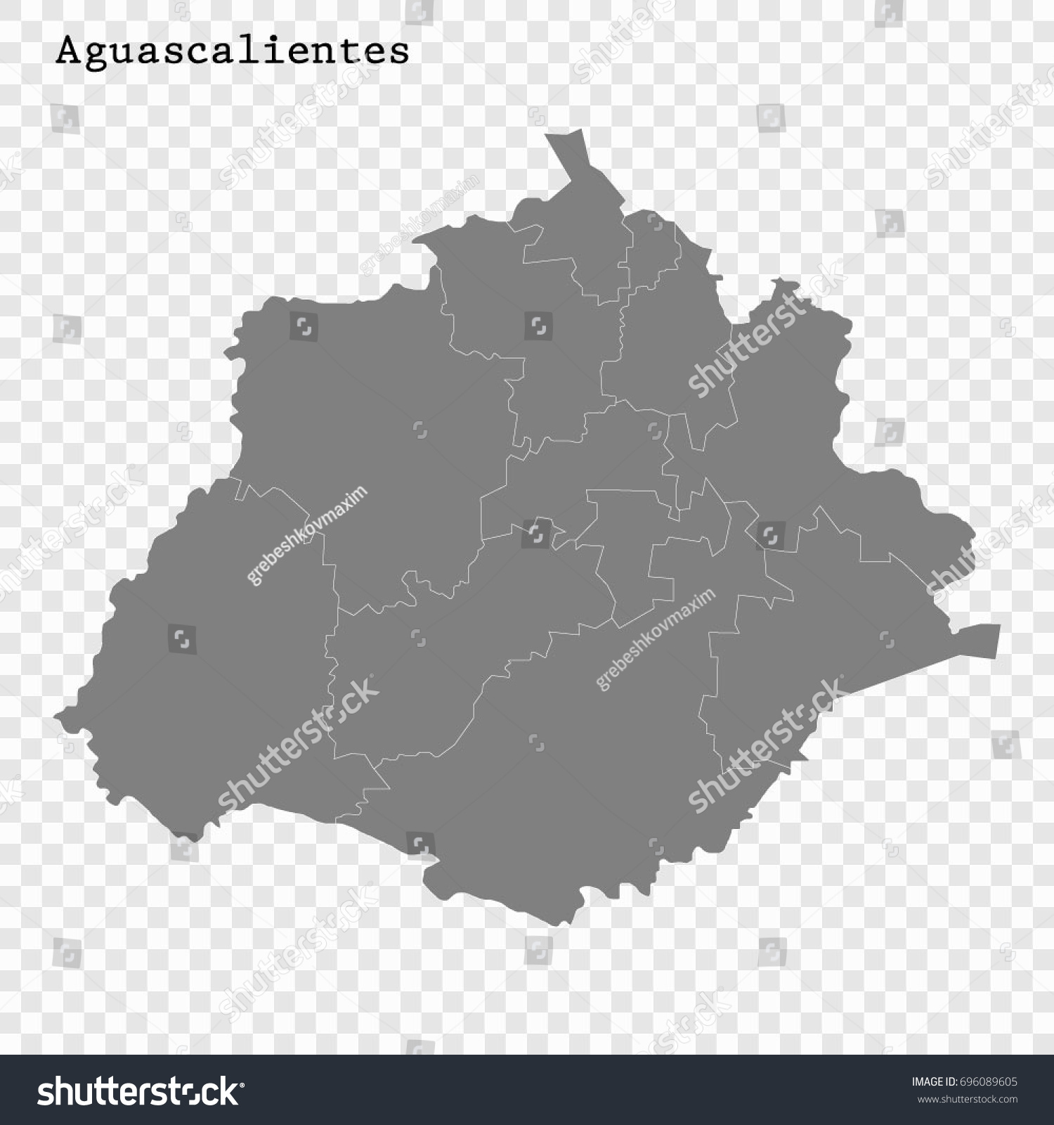 High Quality Map Aguascalientes State Mexico Stock Photo Photo