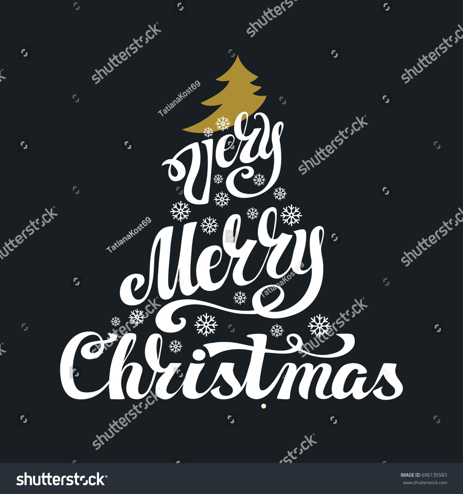 Christmas Greeting Card Merry Christmas Handwritting Stock