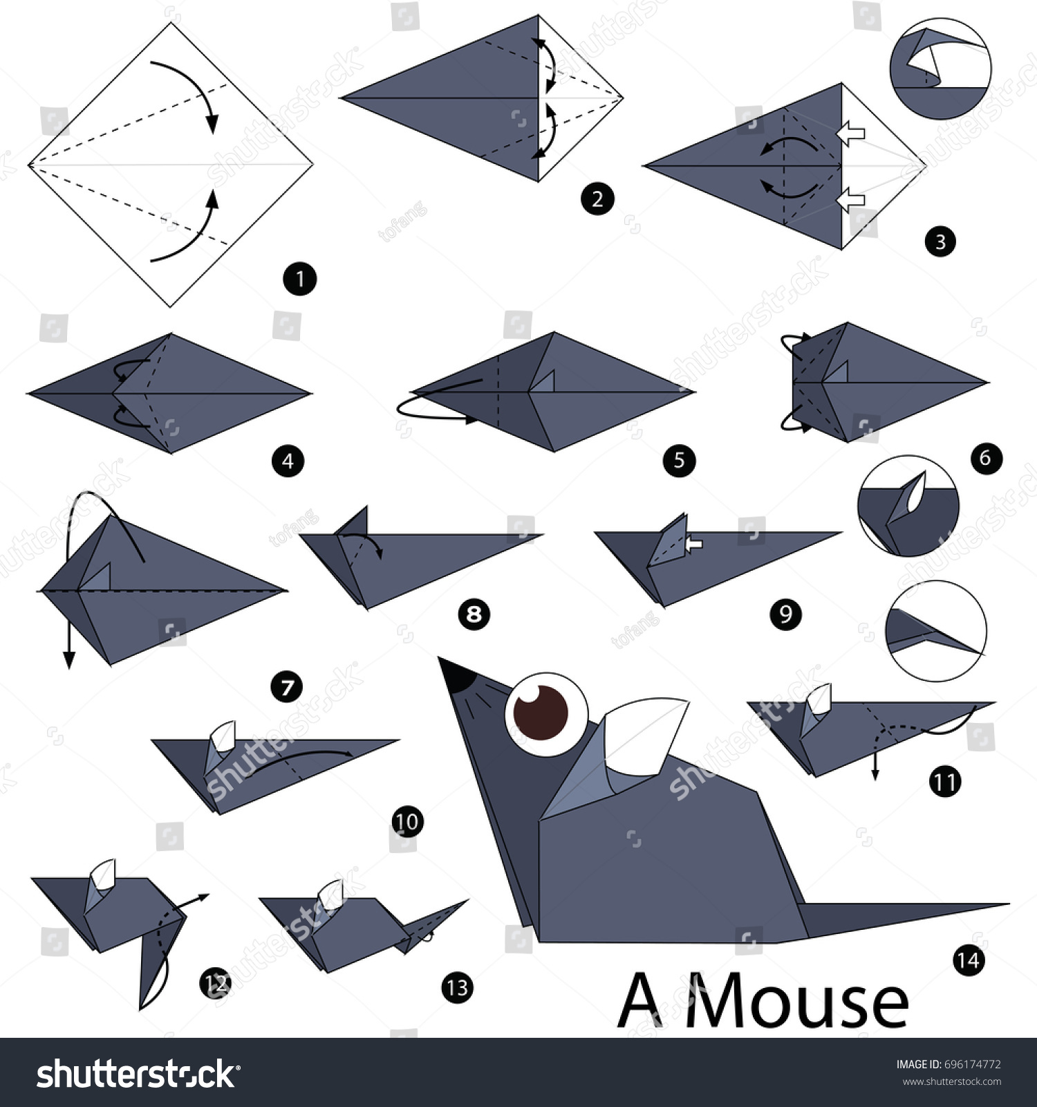 Step By Instructions How Make Stock Vector Royalty Free To Fold Origami Mouse From The Paper Diagram Of Themouse A
