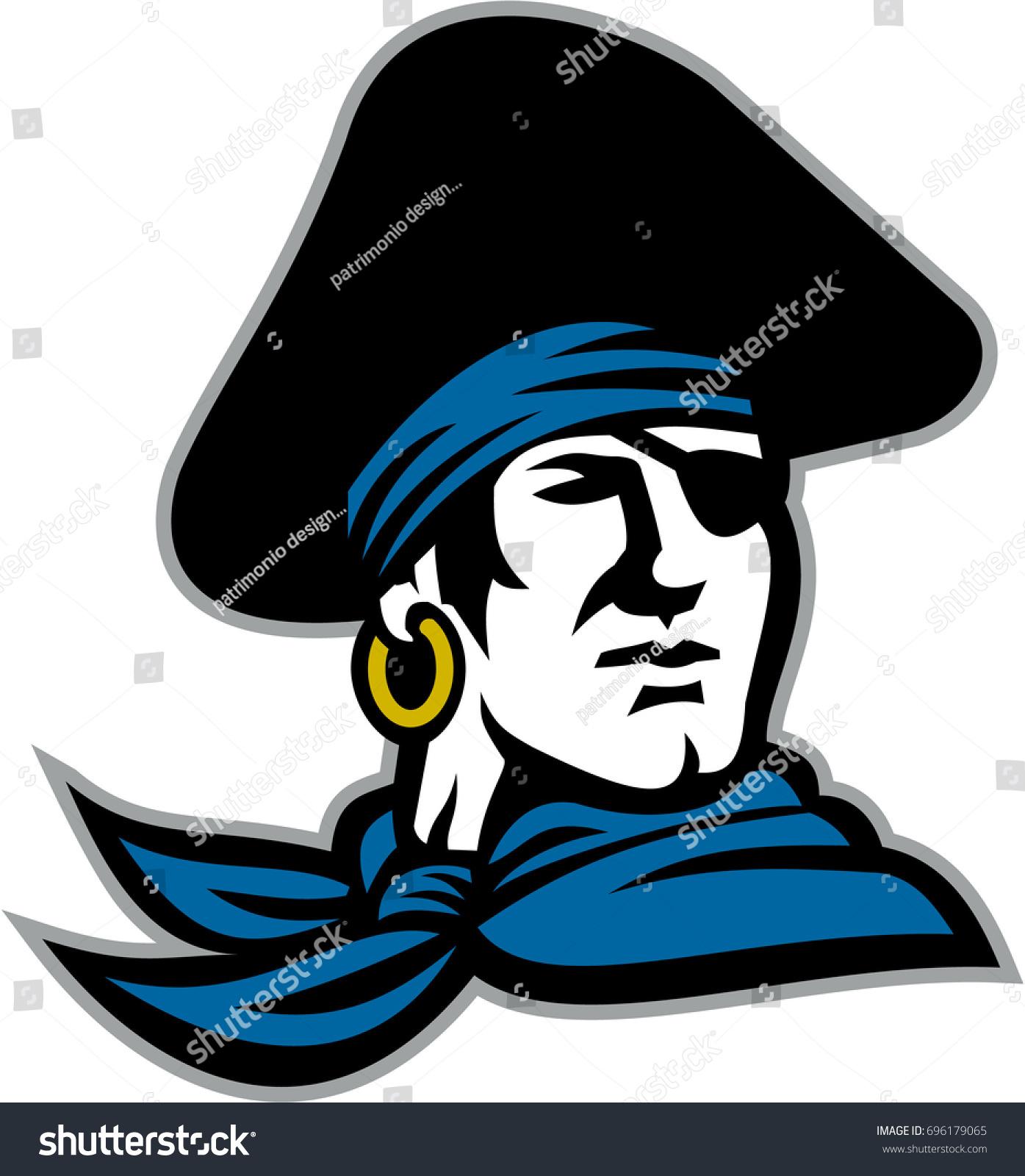 illustration head pirate wearing tricorn hat stock illustration