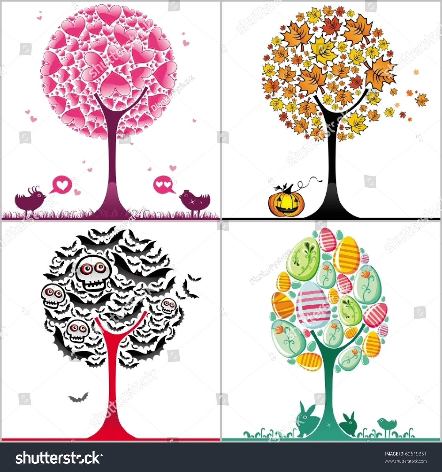 Vector set colorful stylized trees valentines stock