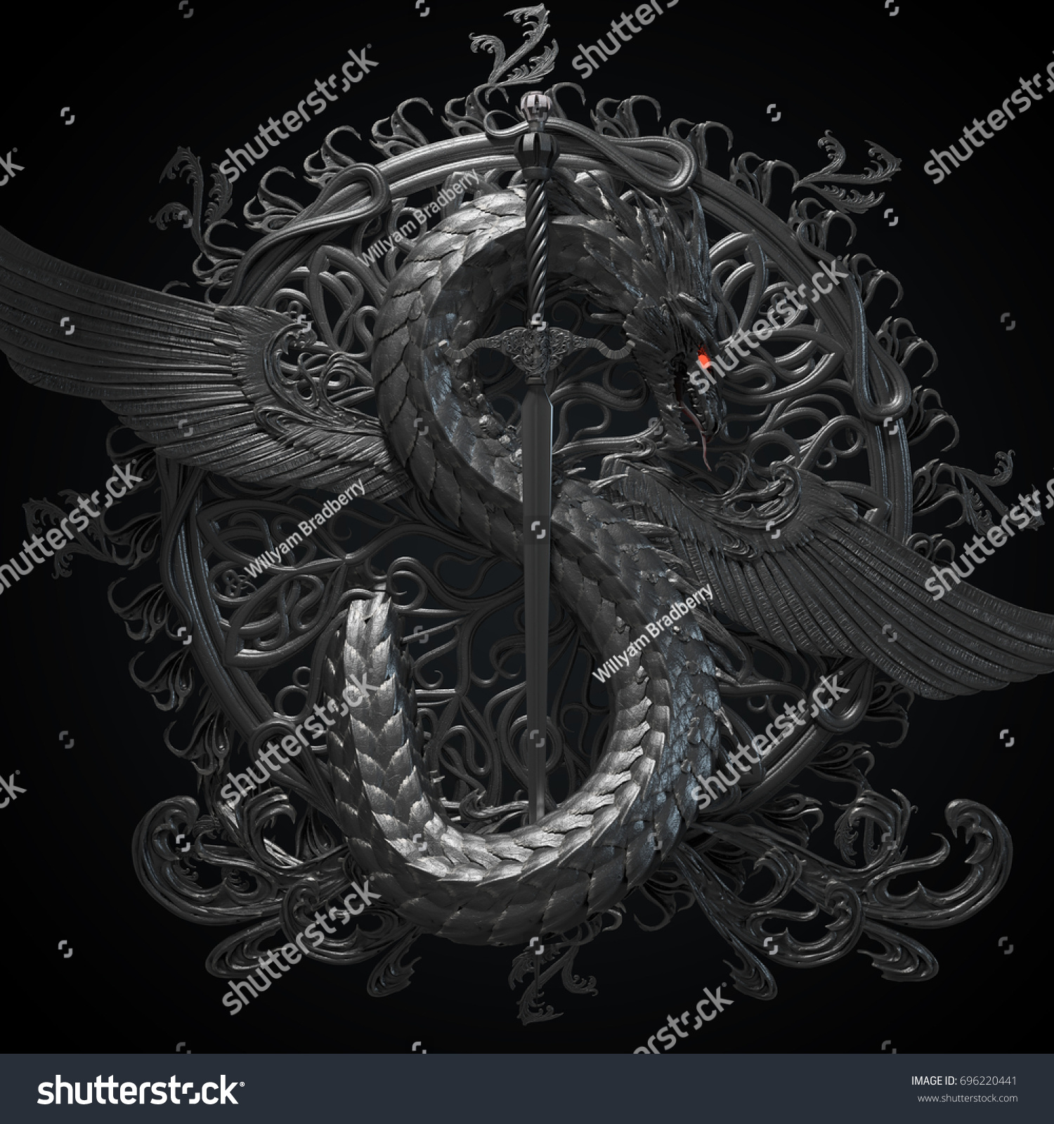 How to breed heraldic dragon - Silver Ornamental Sculpture Of A Dragon With Sword In A Shape Of Symbol Of Dollar Currency