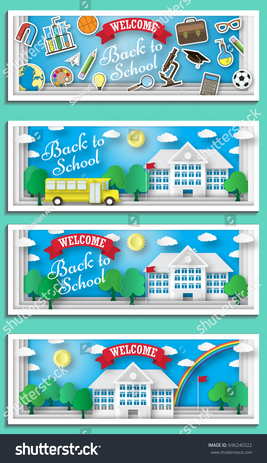 Back to school banner in paper cut cartoon trendy craft style ... | 1600x923