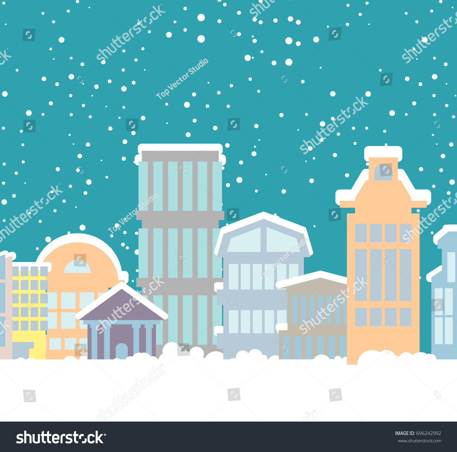 winter christmas city buildings in snow snowfall in town new year background - Christmas City Studios