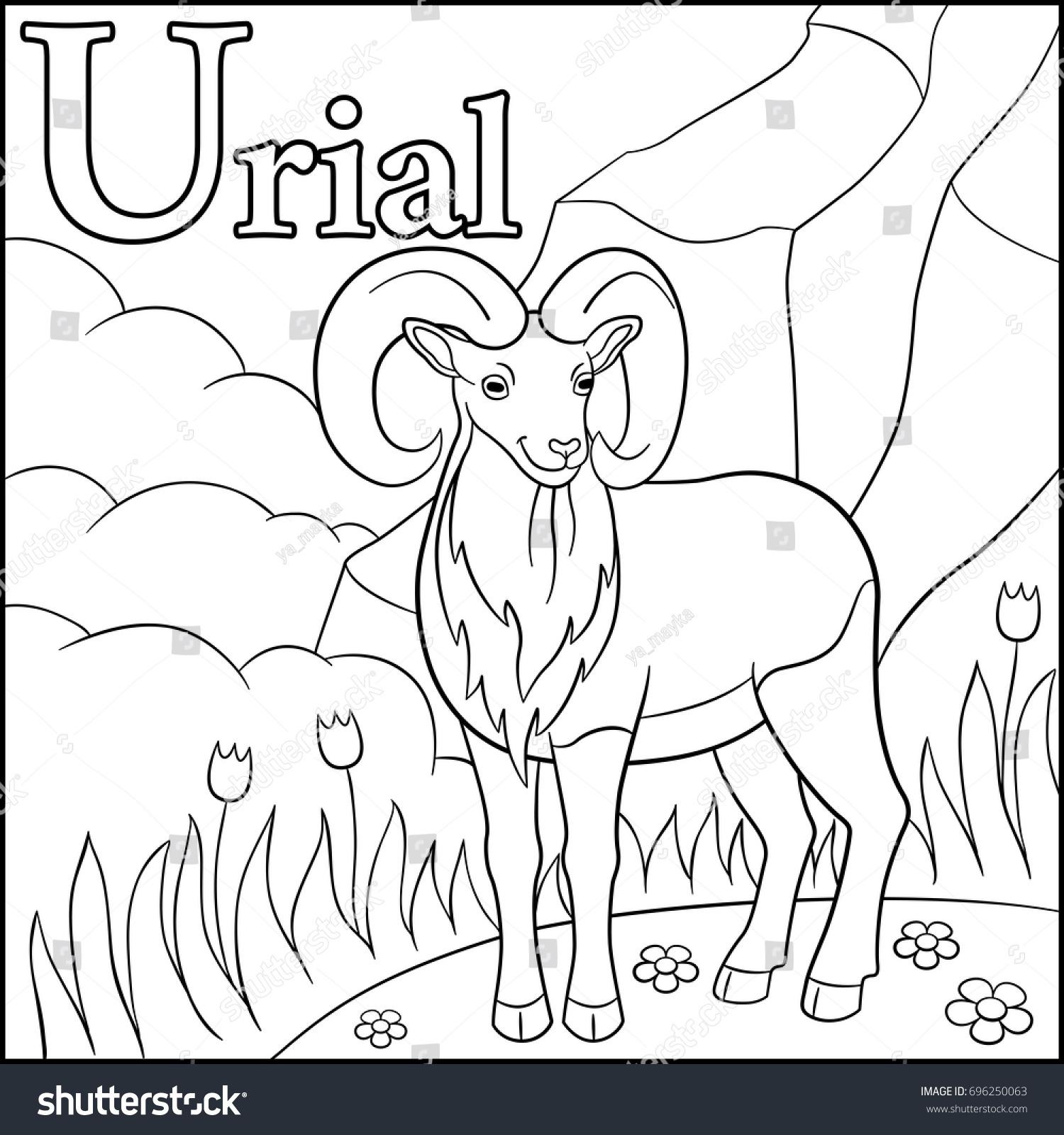 Coloring Page Cartoon Animals Alphabet U Stock Vector (Royalty Free ...