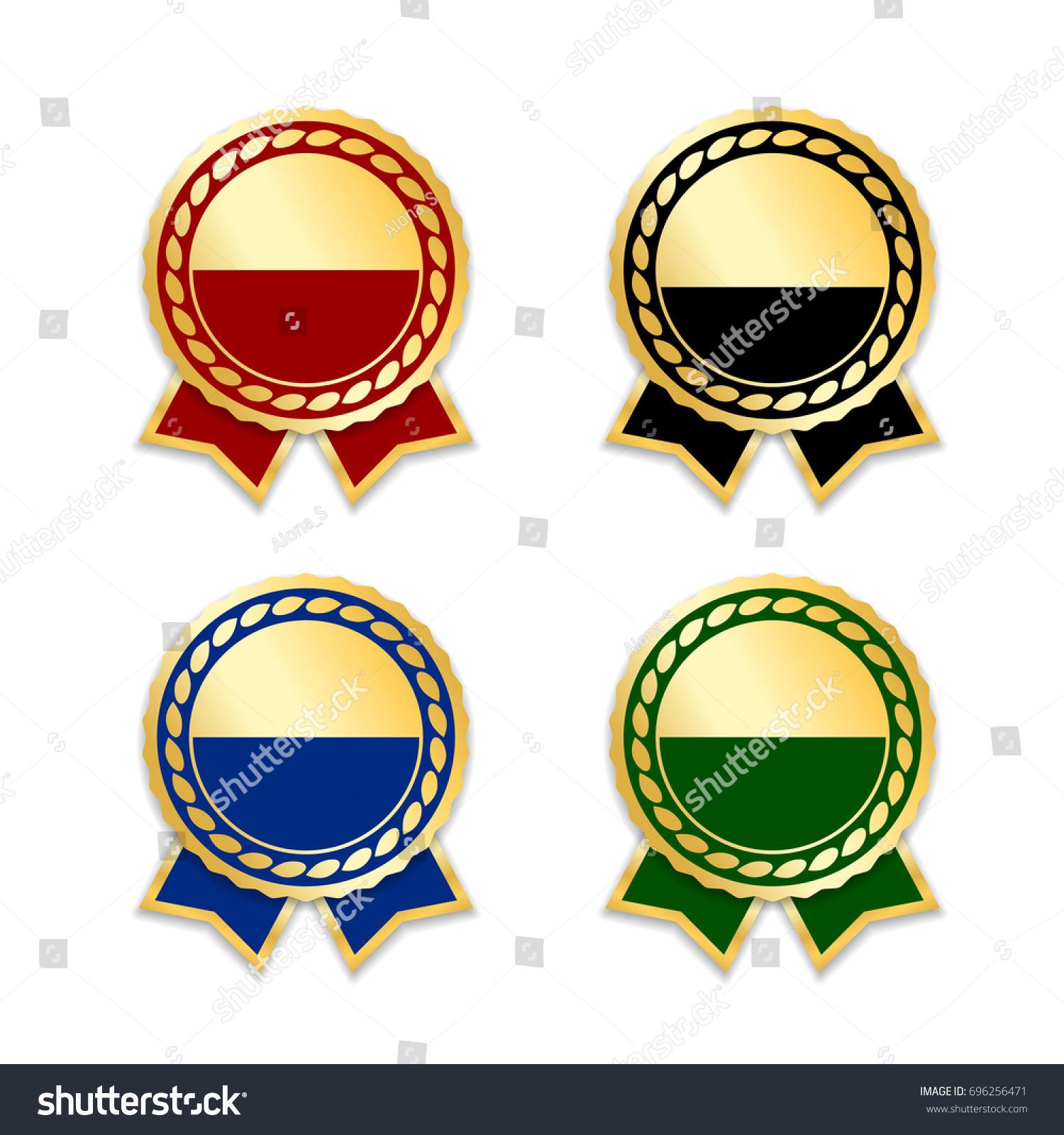 award ribbons isolated set gold green stock vector royalty free