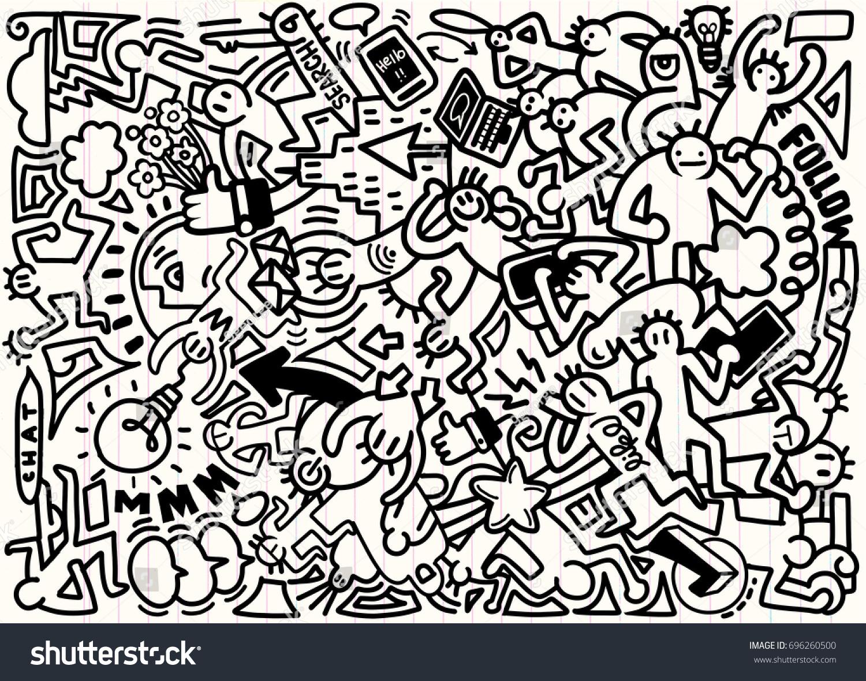 Line Art Media Design : Vector line art doodle cartoon set stock photo