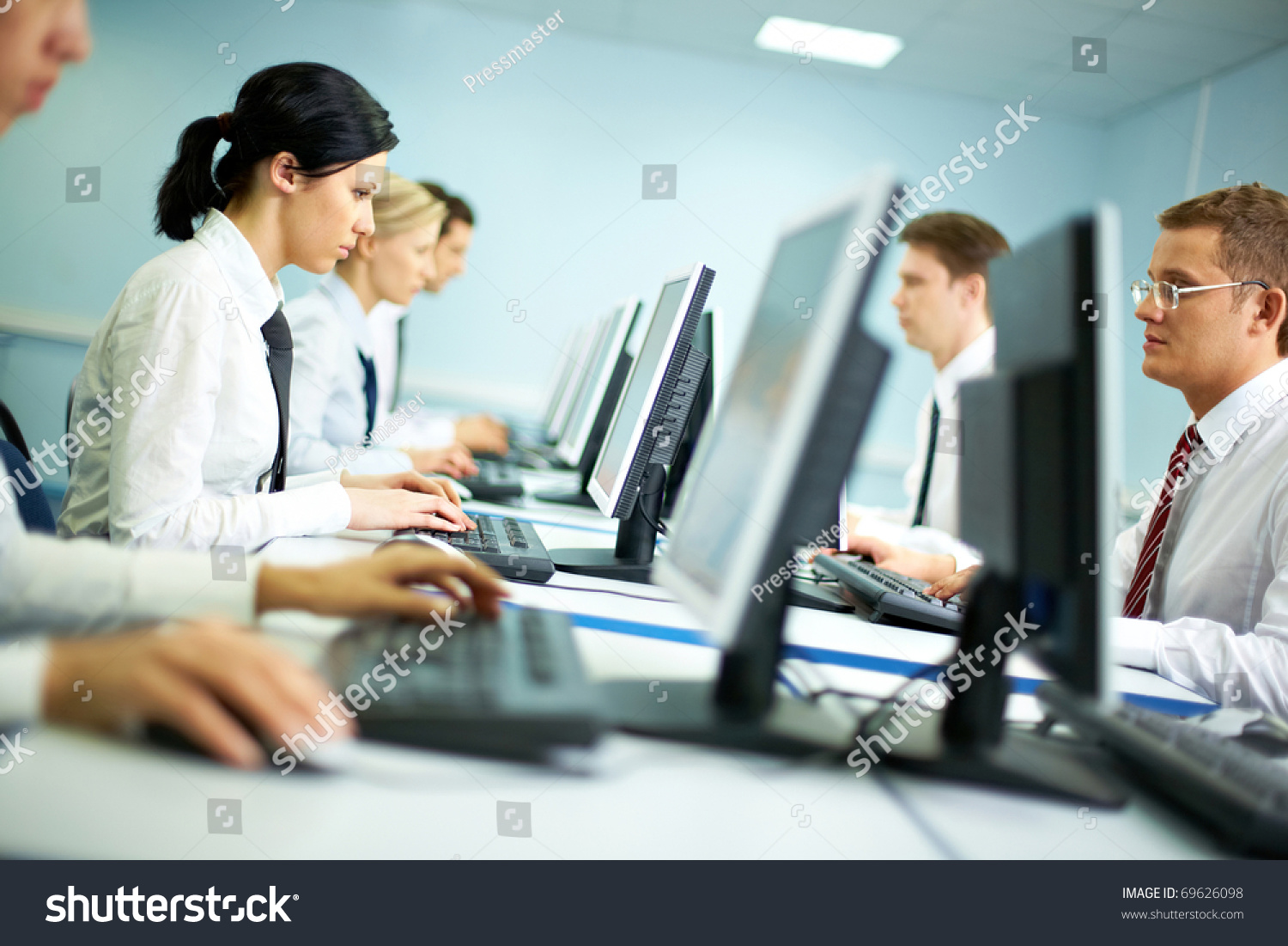 Office White Collar Workers Working On Stock Photo 69626098 ...