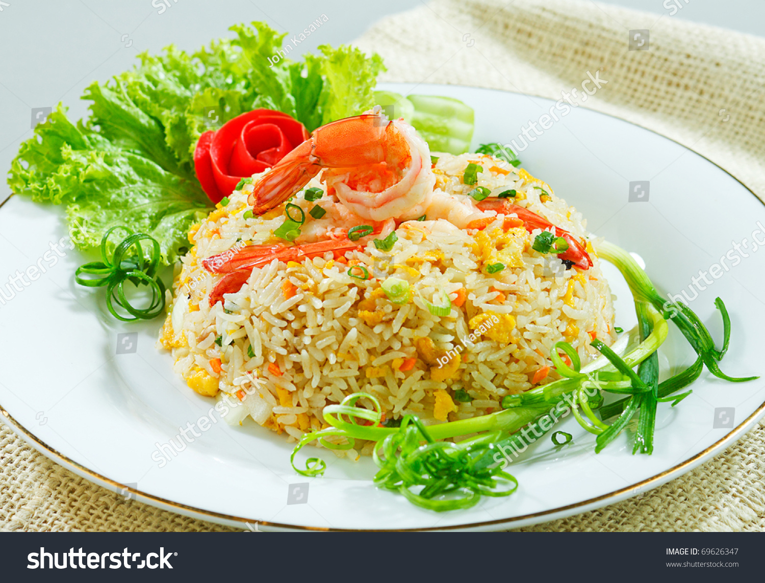 Thai Shrimp Fried Rice Old Fashioned Style Thai Food Isolated Stock ...