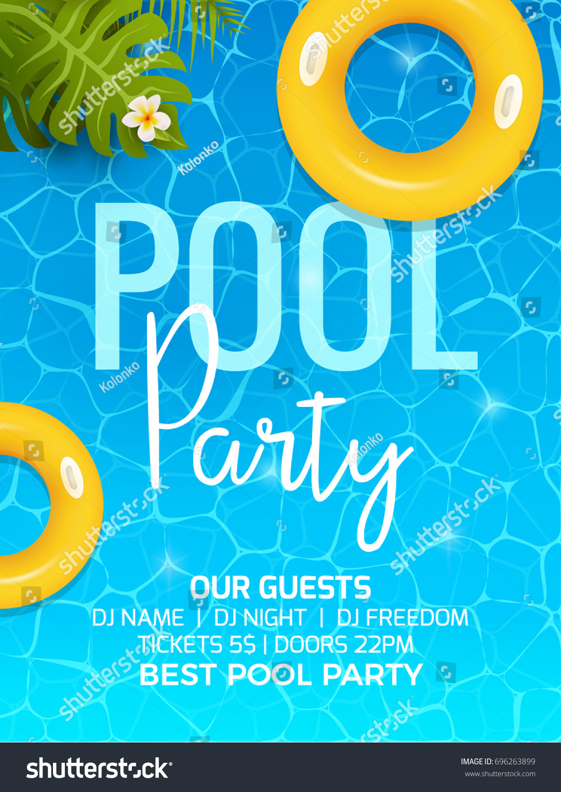 Pool summer party invitation template invitation em vetor stock pool summer party invitation template invitation pool party invitation with palm poster or flyer stopboris Gallery