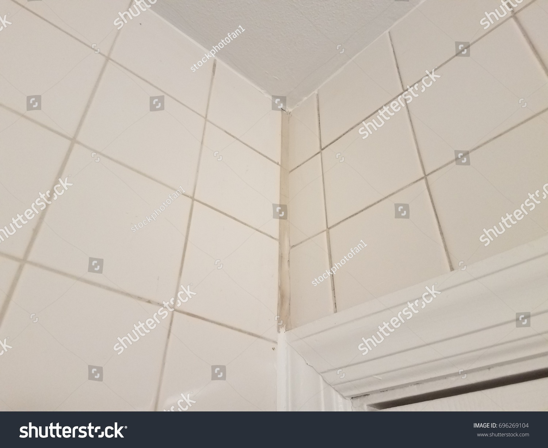 Corner White Tile Bathroom White Calk Stock Photo (Royalty Free ...