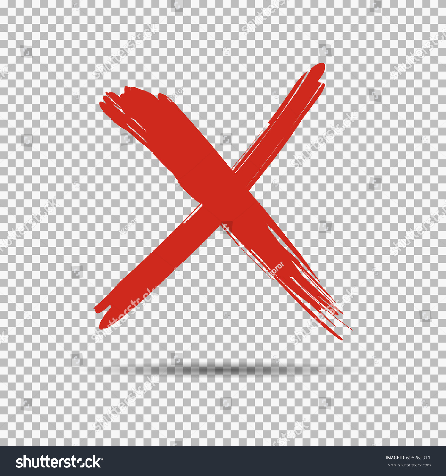 red cross x on transparent background stock vector