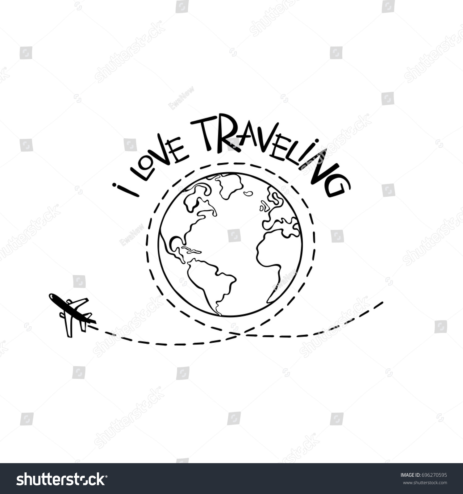 I love traveling. Earth. Aircraft. Isolated vector object on white background.