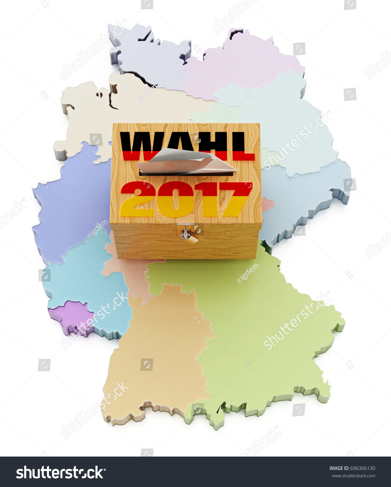 ballot box on germany map divided into regions 3d illustration