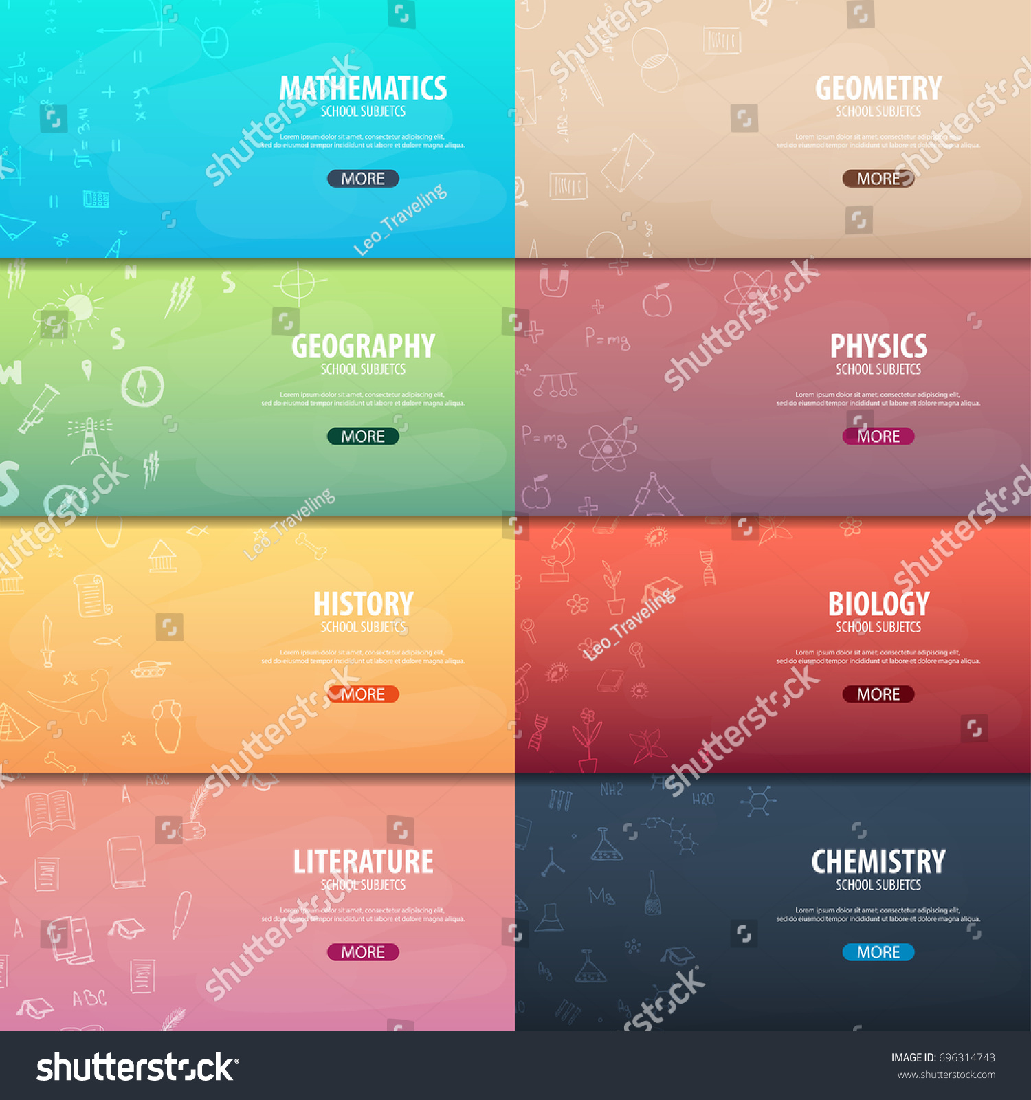 Set Banners School Subjects Back School Stock Vector Royalty Free 696314743