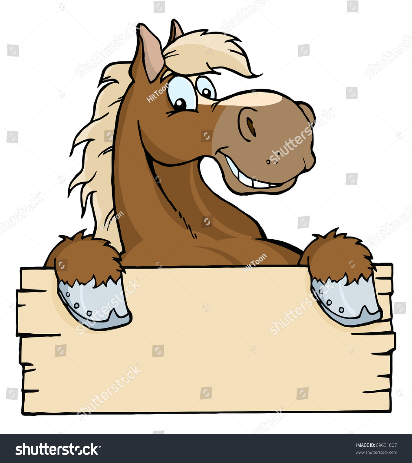 royalty free happy cartoon horse with a blank sign