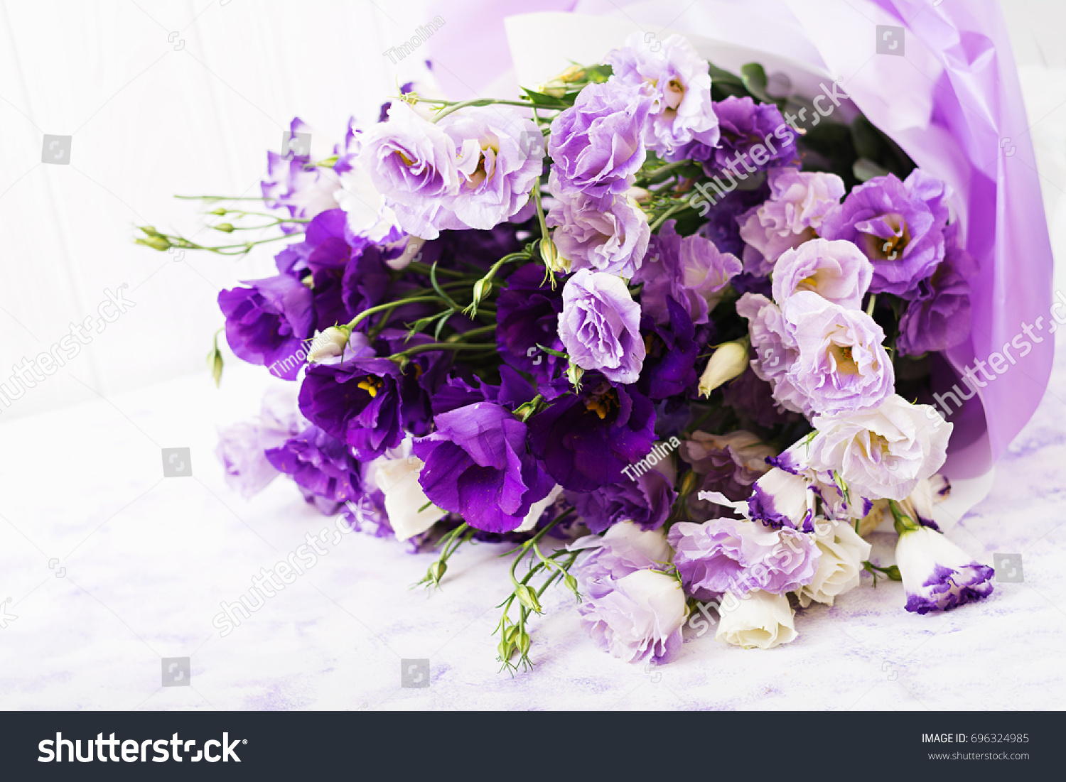 Beautiful flowers bouquet mix of white purple and violet eustoma id 696324985 izmirmasajfo
