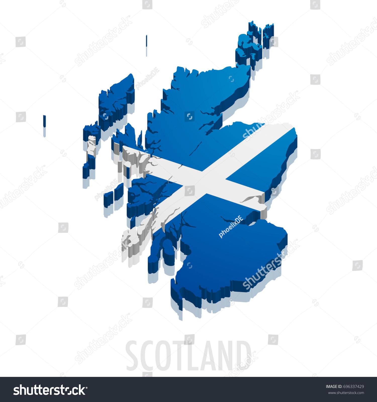 detailed illustration map scotland flag eps10 stock vector