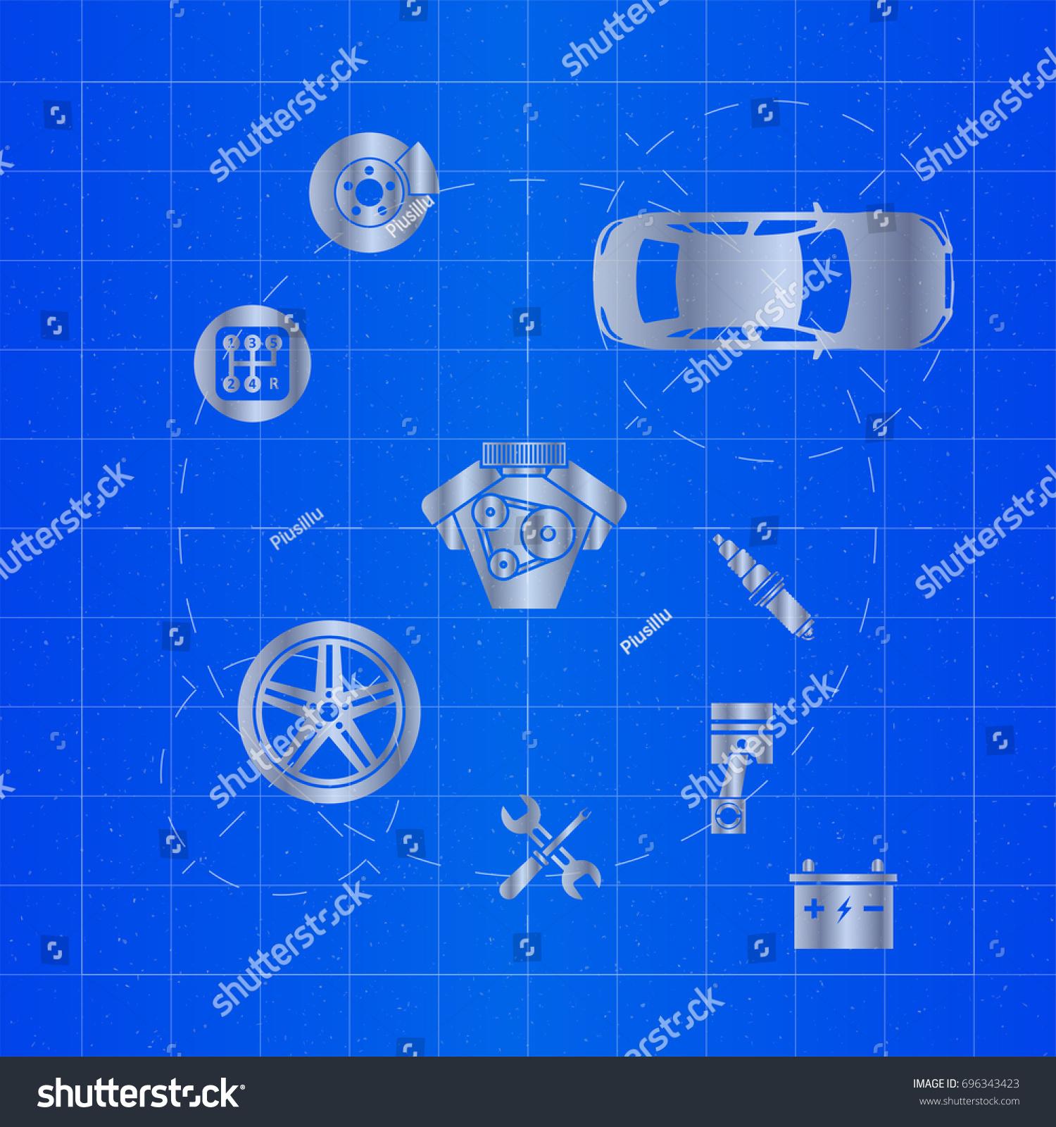 Car parts on blueprint vectores en stock 696343423 shutterstock car parts on blueprint malvernweather Choice Image