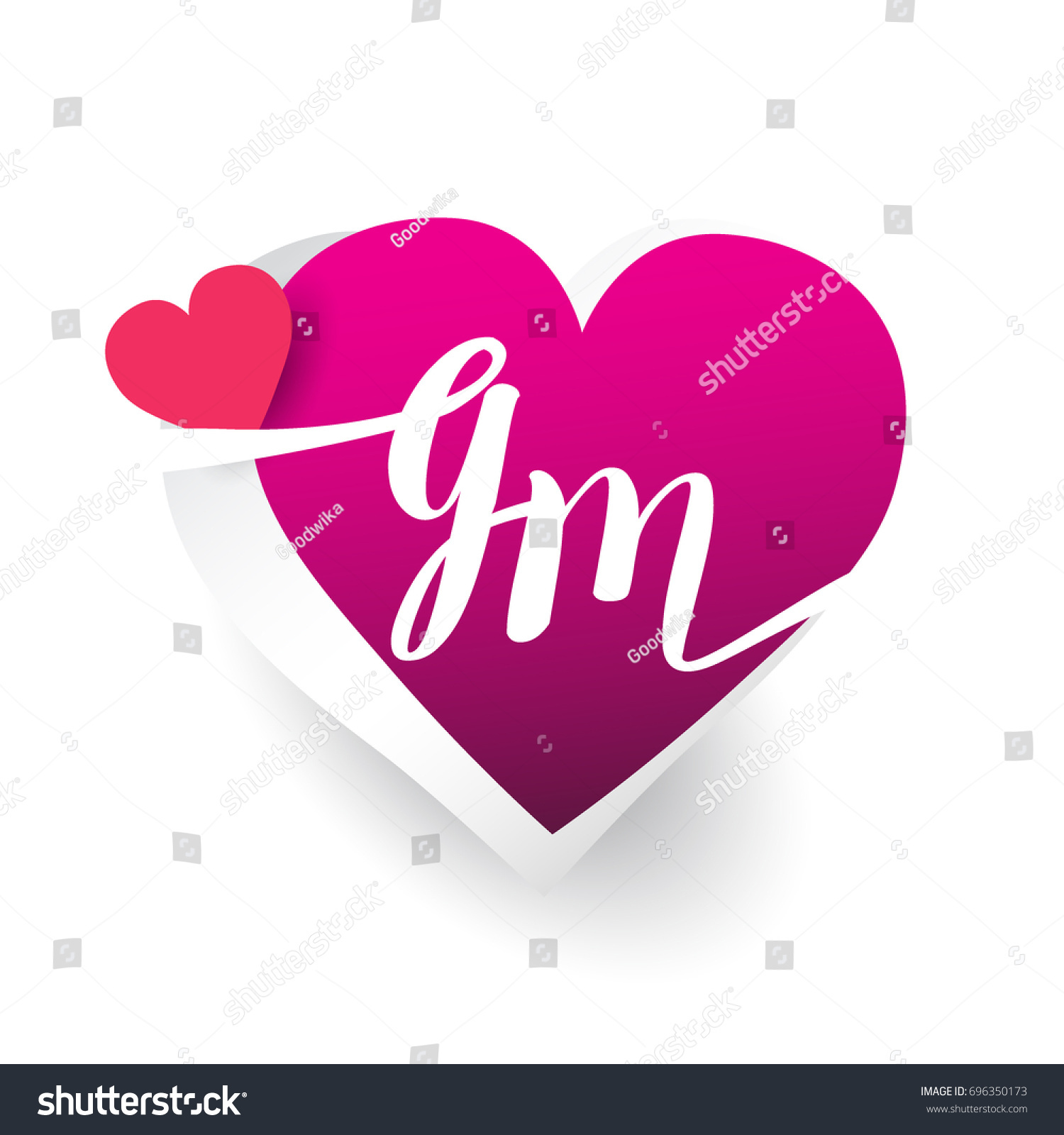 initial logo letter gm heart shape stock vector royalty free